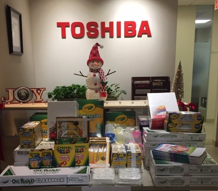 'Gift of Art' to donate crayons, etc. to children of immigrants (Toshiba America, Inc.)